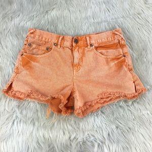 Free People High Waist Orange Distressed Shorts
